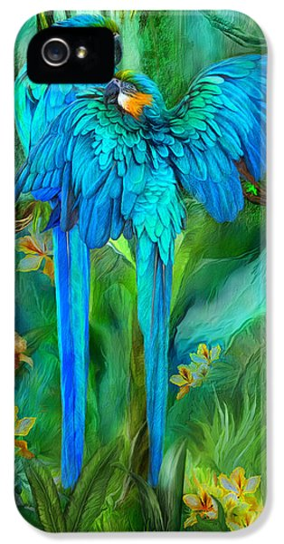 Macaw iPhone 5 Case - Tropic Spirits - Gold And Blue Macaws by Carol Cavalaris