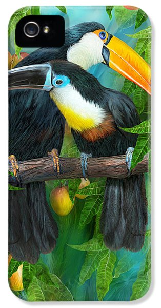 Tropic Spirits - Toucans IPhone 5 Case by Carol Cavalaris