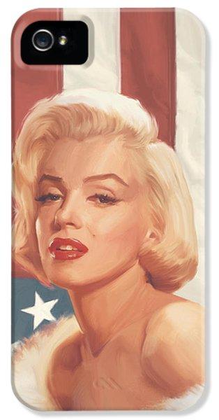 True Blue Marilyn In Flag IPhone 5 Case by Chris Consani