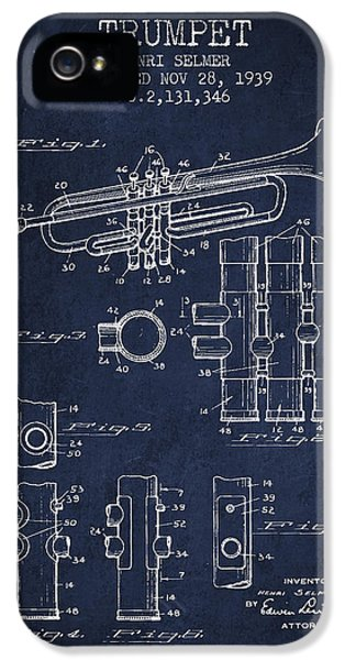 Trumpet Patent From 1939 - Blue IPhone 5 Case by Aged Pixel