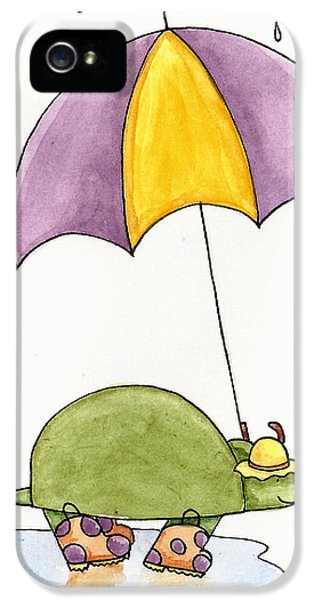 Turtle iPhone 5 Case - Turtle In The Rain by Christy Beckwith