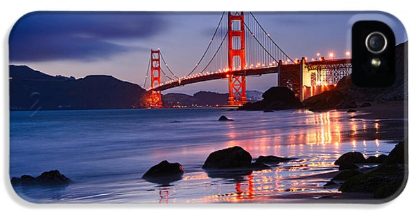 Twilight - Beautiful Sunset View Of The Golden Gate Bridge From Marshalls Beach. IPhone 5 Case by Jamie Pham