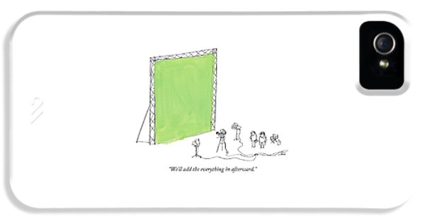 Two Men Point A Film Camera At A Green Screen IPhone 5 Case by Edward Steed