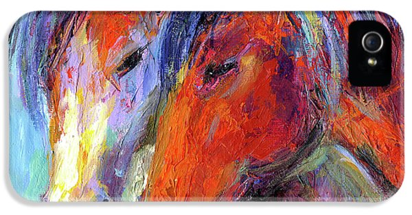 Two Mustang Horses Painting IPhone 5 Case by Svetlana Novikova