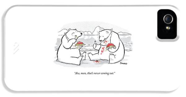 Two Polar Bears Eat Spaghetti And Meatballs.  One IPhone 5 Case