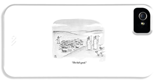 Two Shepherds With Conventional Sheep Look IPhone 5 Case by Paul Noth