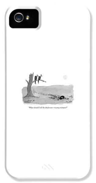 Vulture iPhone 5 Case - Two Vultures Watch A Man Crawl by Jason Patterson