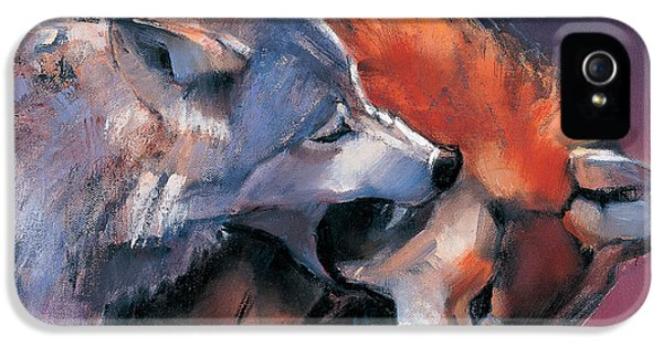 Wolves iPhone 5 Case - Two Wolves by Mark Adlington