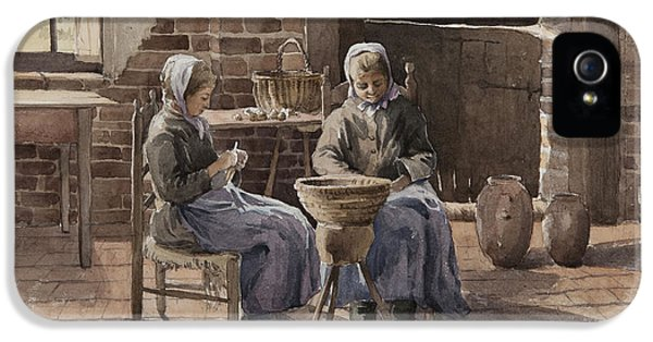 Two Young Women Peeling Potatoes  IPhone 5 Case
