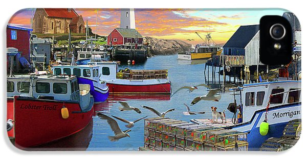 IPhone 5 Case featuring the drawing Uk Boat Cove by David M ( Maclean )