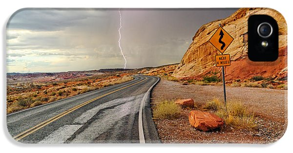 Uncertainty - Lightning Striking During A Storm In The Valley Of Fire State Park In Nevada. IPhone 5 Case by Jamie Pham