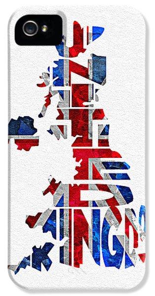 United Kingdom Typographic Kingdom IPhone 5 Case by Ayse Deniz