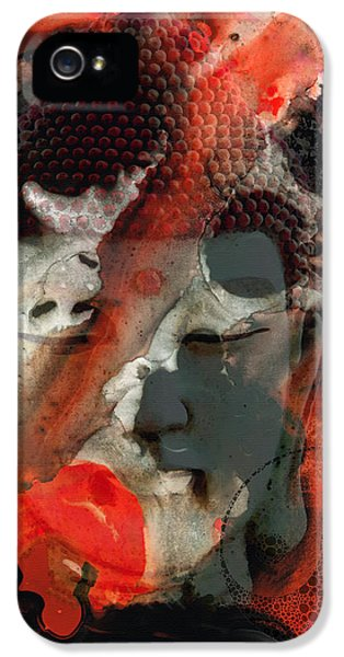 Universal Qi - Zen Black And Red Art IPhone 5 Case by Sharon Cummings