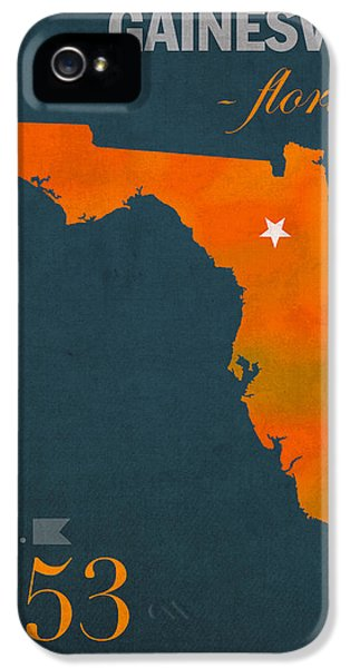 University Of Florida Gators Gainesville College Town Florida State Map Poster Series No 003 IPhone 5 Case by Design Turnpike