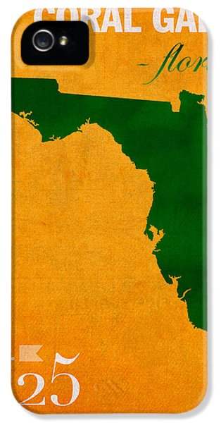 University Of Miami Hurricanes Coral Gables College Town Florida State Map Poster Series No 002 IPhone 5 Case by Design Turnpike