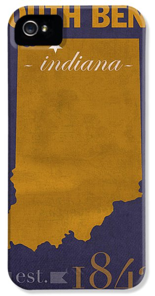 University Of Notre Dame Fighting Irish South Bend College Town State Map Poster Series No 081 IPhone 5 Case by Design Turnpike