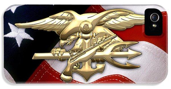 U. S. Navy S E A Ls Emblem Over American Flag IPhone 5 Case