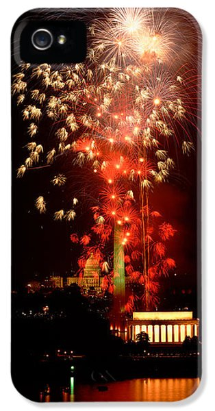 Washington Monument iPhone 5 Case - Usa, Washington Dc, Fireworks by Panoramic Images