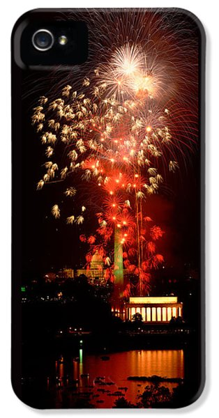 Usa, Washington Dc, Fireworks IPhone 5 Case by Panoramic Images