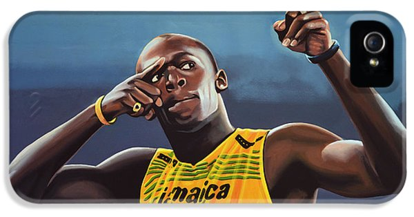 Weather iPhone 5 Case - Usain Bolt Painting by Paul Meijering