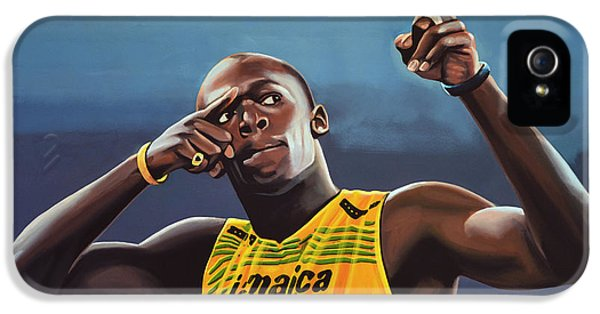 Usain Bolt Painting IPhone 5 Case by Paul Meijering