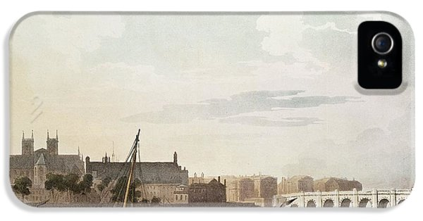 View Of Westminster And The Bridge Wc On Paper IPhone 5 Case by English School