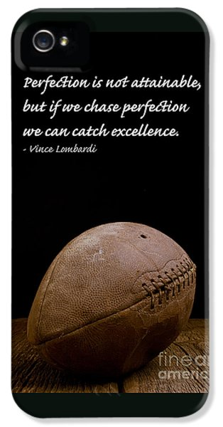 Vince Lombardi On Perfection IPhone 5 Case by Edward Fielding