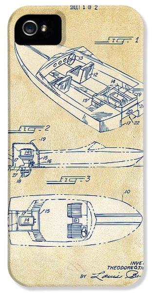 Vintage 1972 Chris Craft Boat Patent Artwork IPhone 5 Case