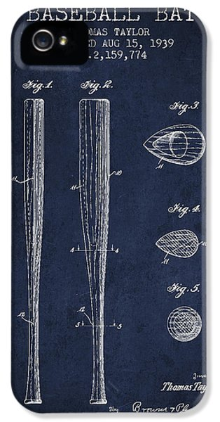 Vintage Baseball Bat Patent From 1939 IPhone 5 Case by Aged Pixel