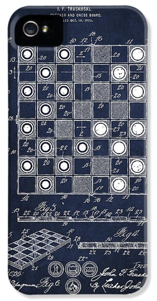 Vintage Checker And Chess Board Drawing From 1921 IPhone 5 Case by Aged Pixel