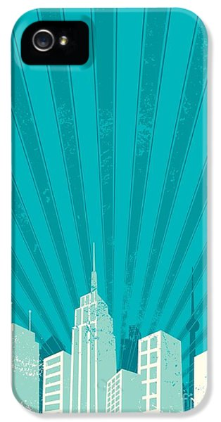 Office Buildings iPhone 5 Case - Vintage City Background. A4 Proportions by Malchev
