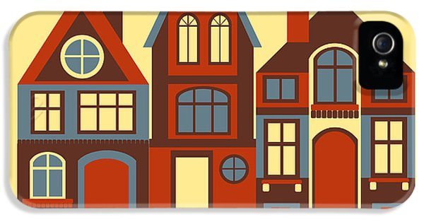 Town iPhone 5 Case - Vintage City Houses On Yellow Background by Okhristy