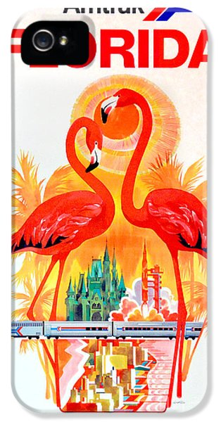 Flamingo iPhone 5 Case - Vintage Florida Amtrak Travel Poster by Jon Neidert