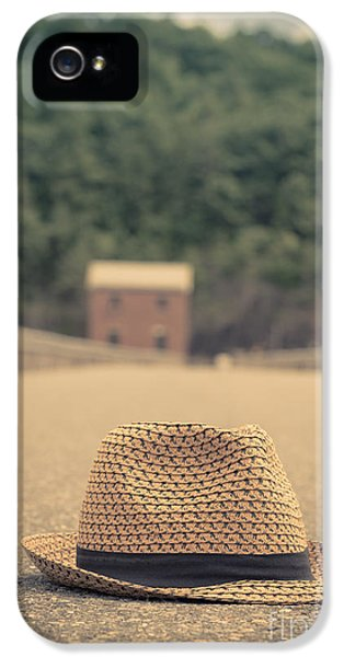 Vintage Hat In The Road With House Beyond IPhone 5 Case by Edward Fielding