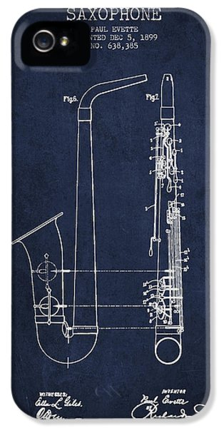 Saxophone Patent Drawing From 1899 - Blue IPhone 5 Case