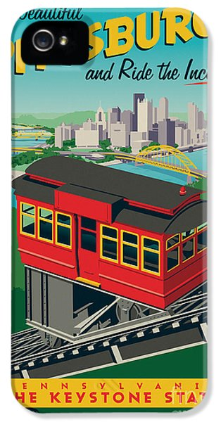 Vintage Style Pittsburgh Incline Travel Poster IPhone 5 Case