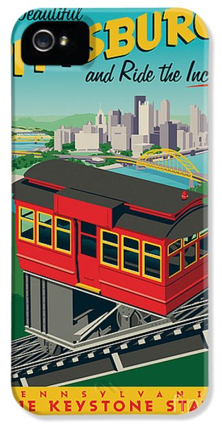 Vintage Style Pittsburgh Incline Travel Poster IPhone 5 Case by Jim Zahniser
