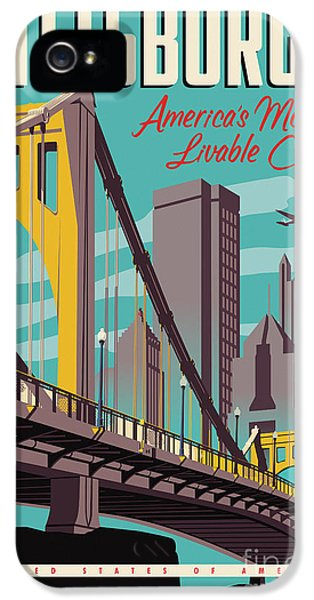 Vintage Style Pittsburgh Travel Poster IPhone 5 Case