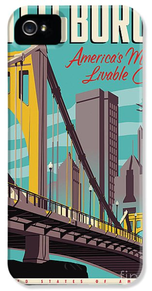 City Scenes iPhone 5 Case - Vintage Style Pittsburgh Travel Poster by Jim Zahniser