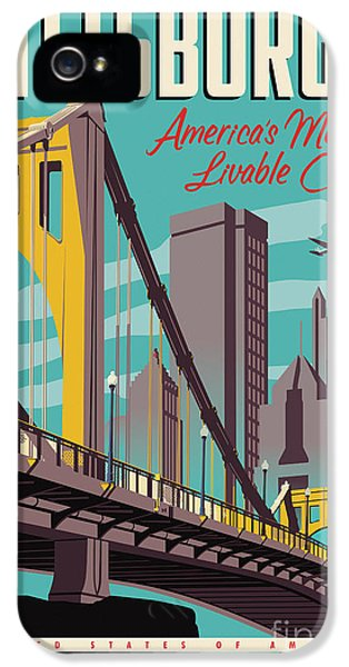 Vintage Style Pittsburgh Travel Poster IPhone 5 Case by Jim Zahniser