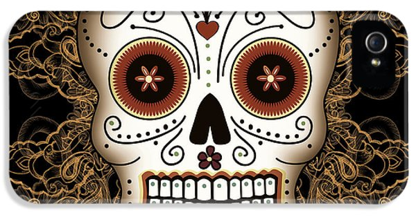 Mexican iPhone 5 Cases - Vintage Sugar Skull iPhone 5 Case by Tammy Wetzel