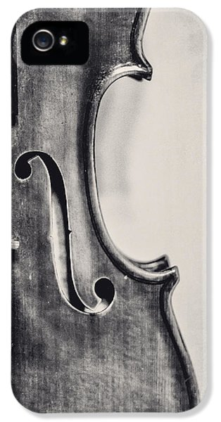 Violin iPhone 5 Case - Vintage Violin Portrait In Black And White by Emily Kay