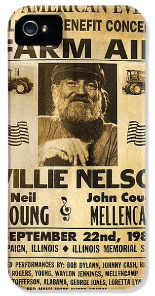 Vintage Willie Nelson 1985 Farm Aid Poster IPhone 5 Case by John Stephens