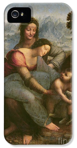 Virgin And Child With Saint Anne IPhone 5 Case by Leonardo Da Vinci