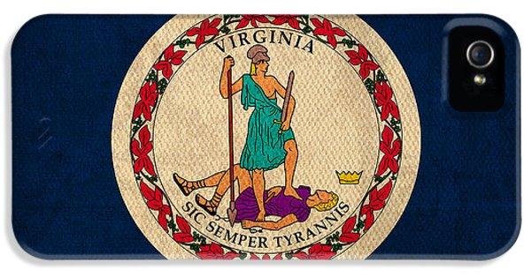 Virginia State Flag Art On Worn Canvas IPhone 5 Case