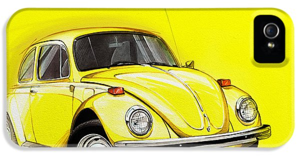 Volkswagen Beetle Vw Yellow IPhone 5 Case by Etienne Carignan