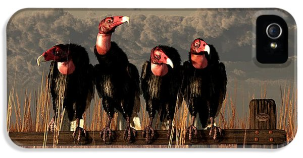 Vultures On A Fence IPhone 5 / 5s Case by Daniel Eskridge