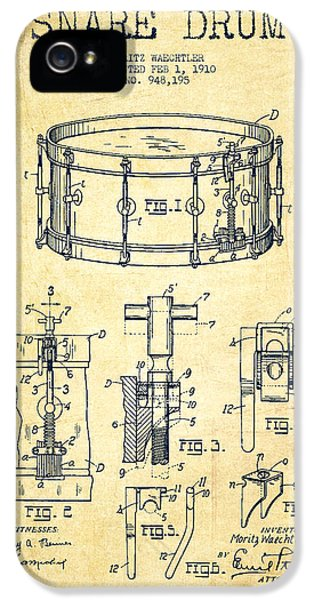 Drum iPhone 5 Case - Waechtler Snare Drum Patent Drawing From 1910 - Vintage by Aged Pixel