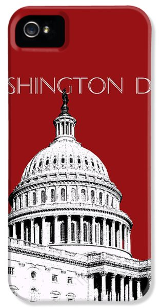 Washington Dc Skyline The Capital Building -  Dk Red IPhone 5 Case by DB Artist