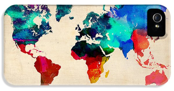 Watercolor World Map 3 IPhone 5 Case
